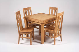 Dining Room Oak Wood Square Expandable Table With Four Chairs