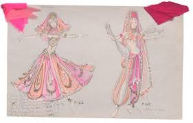 Costume Design Drawing Two Female Dancers In Pink Harem Costumes For Pzazz 68