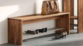 Refacing Rustic Style Entryway With Metal Pipe Shoe Rack And Natural Wood Bench Storage