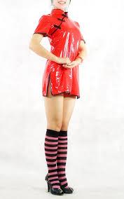 red cheongsam pvc costume dress cosercosplay com