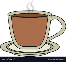 Color Image Cartoon Transparent Cup Of Coffee With Vector
