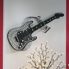 Guitar Wall Art Large Jeweled Metal Hanging Plaque Home Decor