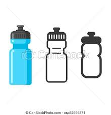 Sports Water Bottle Icon Set Flat Cartoon Style Outline And Simple Line Pictogram Isolated Vector Illustration
