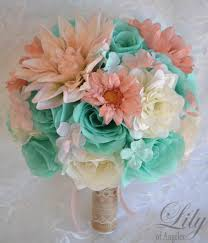 17 Piece Package Wedding Bridal Bouquet Silk Flowers Bouquets Bridesmaid ROBINS Egg BLUE Spa PEACH Rustic Burlap Lily Of Angeles TIPE01