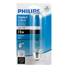 philips 415844 display and cabinet 15 watt t10 clear light bulb