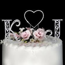Monogram Initials Heart Swarovski Crystal Wedding Cake Toppers