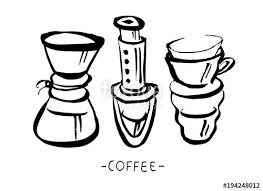 Vector Hand Drawn Illustration Set Of Coffee Preparation Pour Over Brewer Kettle