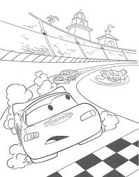 Speeding Car On The Track Coloring Page