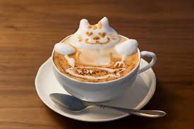 3D Latte Art Cat Eating