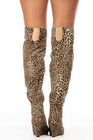 leopard faux suede over the knee wedge boots cicihot boots