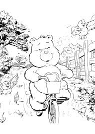 Tenderheart Bear With Flowers Bicycle Coloring Page
