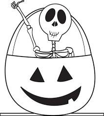 Cute Skeleton Coloring Pages In Halloween Pumpkin