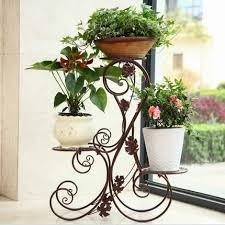 Rustic Multi Layer Fashion Iron Flower Stand Balcony Indoor French Pot Holder Hanging Basket Rack In Garden Buildings From Home On