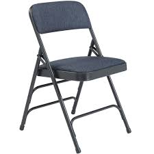 National Public Seating 2304 Char-Blue Metal Folding Chair With 1 1/4