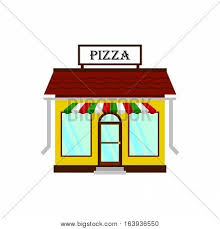 Cartoon Pizza Italian Restaurant Facade Cafe Shop