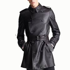 buy men leather double breasted coat online men leather trench coat