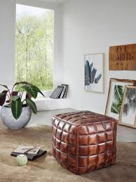 finebuy sitzwürfel stan echtleder braun 39 x 41 x 39 cm ottomane wohnzimmer design pouf hocker orientalisch polster sitzhocker edel orient