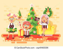Vector Illustration Cartoon Characters Children Boys And Girls In Room Under Christmas Tree Happy