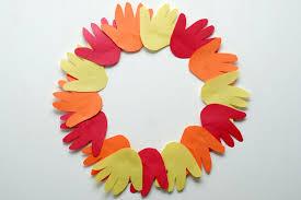 Art And Crafts Autumn Handprint Wreath