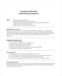 Resume Qualifications Examples Of Summary For Professional Example Objective Risk