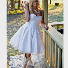 Short Country Wedding Dress White Satin Ball Gown Rustic Laced Up Back Custom
