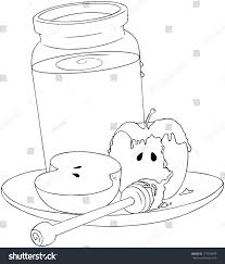 A Vector Illustration Coloring Page Of Honey Jar And Sliced Apple Covered With