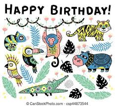 Cute Happy Birthday Card With Cartoon Animals In The Jungle Vector