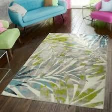 details zu teppich modern preiswert wohnzimmer teppiche palmen style in grau grün blau