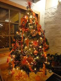 Black Christmas Tree With Orange Lights Trees Oranges All Things
