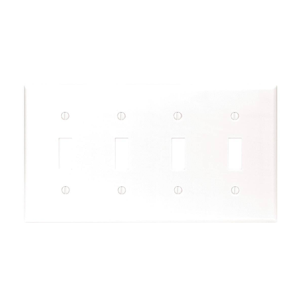 Leviton 88012 Toggle Switch Wall Plate - 4 Gang, White