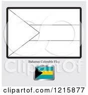 Clipart Of A Coloring Page And Sample For Bahamas Flag Royalty Free Vector Illustration