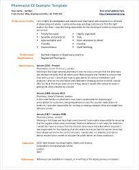 Pharmacy Cv Examples 9 Pharmacist Curriculum Vitae Templates Pdf Doc