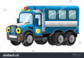 Cartoon Happy Funny Police Truck Isolated Stock Illustration ...
