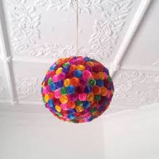 Colourful Paper Flowers Hanging Light Shade