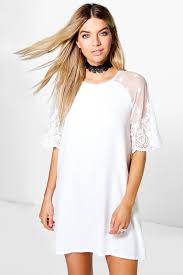 karina lace sleeve shift dress boohoo