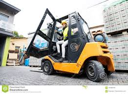 100 Female Truck Driver Forklift Outside A Warehouse Stock