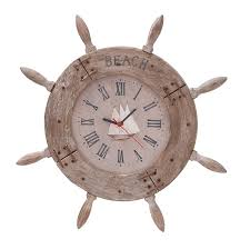 Sailboat Wheel Wall Decor by Amazon Com Deco 79 Wood Ship Wheel Clock Nautical Maritime Decor