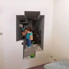 Minecraft 3D Creeper Fathead Style Wall Art Decal Vinyl Design Cartoon Gamer PC Gaming Xbox Birthday