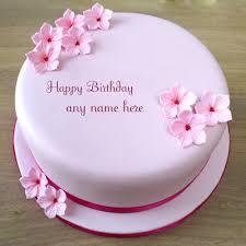 write name on beautiful pink flowers birthday cake photo