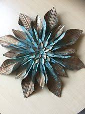 Large Rustic Copper Turquoise Flower Metal Wall Decor Gorgeous Accent