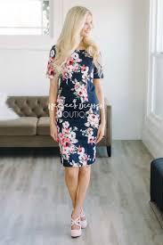navy pink floral church dress cute modest clothes modest