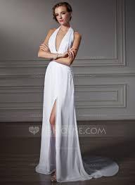a line princess halter watteau train chiffon prom dress with