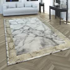 teppich 3 d bordüre marmor look grau gold