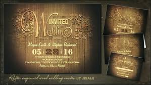 Wooden Wedding Invitations 7438 As Well Engraved Wood Floral Rustic