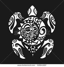 Turtle Tattoo In Maori Style On A Black Background Vector Illustration EPS10