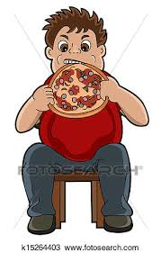 Clipart Of Fat Man Eating Pizza Cartoon K