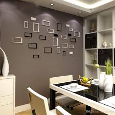 großhandel freies verschiffen 10 stücke abnehmbare 3d diy holz wandaufkleber bilderrahmen wohnzimmer schlafzimmer wohnkultur schwarz rot weiß