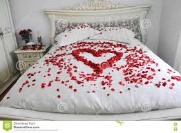 Bed With Real Red Rose Petals Stock Image