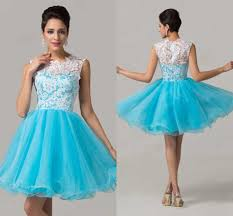 white and light sky blue homecoming dresses jewel appliques lace