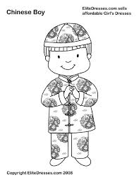 Chinese Boy In Traditional Dress Coloring Page